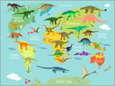 Juliste  World Map of Dinosaurs (Spanish) - Kidz Collection