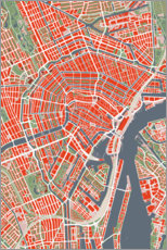 Akryylilasitaulu  City map of Amsterdam, colorful - PlanosUrbanos