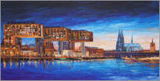 Galleriataulu  Cologne view, crane houses and cathedral - Renate Berghaus