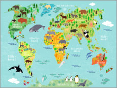 Juliste  World Map of Animals (Danish) - Kidz Collection