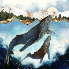 Akryylilasitaulu  Whale family mother and child - SpaceFrog Designs