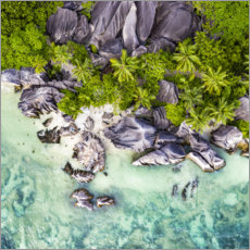 Canvas-taulu  Anse Source d'Argent from above - Jan Christopher Becke