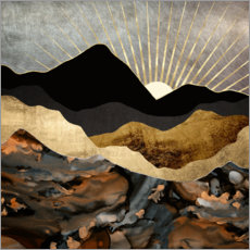 Canvas-taulu  Mountain landscape in copper and gold - SpaceFrog Designs