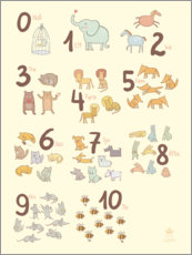 Puutaulu  Numbered animals (Swedish) - Petit Griffin