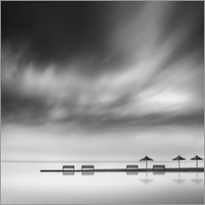 Canvas-taulu  Benches and umbrellas - George Digalakis