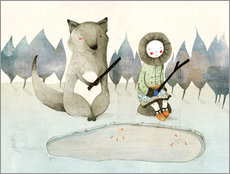 Galleriataulu  The little Inuit girl and the wolf - Judith Loske