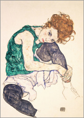 Galleriataulu  Seated woman with bent knee - Egon Schiele