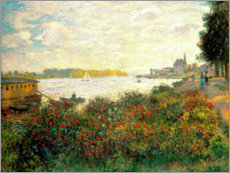 Canvas-taulu  Red flowers on the banks of the Seine at Argenteuil - Claude Monet