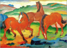 Akryylilasitaulu  Grazing horses IV (The Red Horses) - Franz Marc