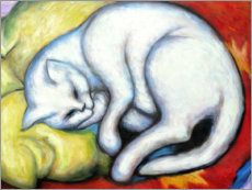 PVC-taulu  The white cat (hangover on yellow pillow) - Franz Marc