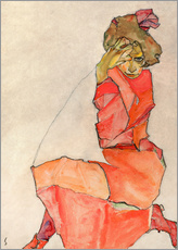 Galleriataulu  Kneeling woman in red dress - Egon Schiele