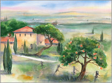 Galleriataulu  Tuscany with orange tree - Jitka Krause