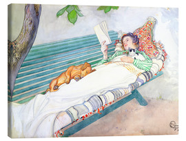 Canvas-taulu  Woman lying on a bench - Carl Larsson