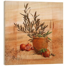 Puutaulu  Pomegranate and olive harvest - Franz Heigl