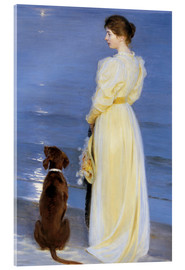 Akryylilasitaulu  Summer Evening at Skagen. The Artist's Wife and Dog by the Shore - Peder Severin Krøyer
