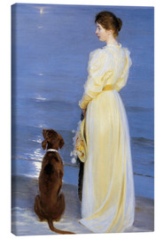 Canvas-taulu  Summer Evening at Skagen. The Artist's Wife and Dog by the Shore - Peder Severin Krøyer