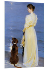PVC-taulu  Summer Evening at Skagen. The Artist's Wife and Dog by the Shore - Peder Severin Krøyer