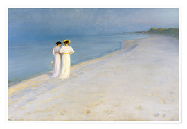 Juliste  Summer Evening on the Skagen Southern Beach with Anna Ancher and Marie Kroyer - Peder Severin Krøyer
