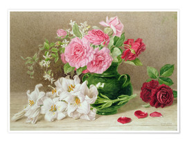 Juliste  Roses and lilies - Mary Elizabeth Duffield