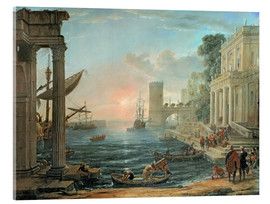 Akryylilasitaulu  Seaport with the Embarkation of the Queen of Sheba - Claude Lorrain