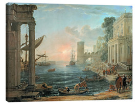 Canvas-taulu  Seaport with the Embarkation of the Queen of Sheba - Claude Lorrain