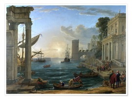 Juliste  Seaport with the Embarkation of the Queen of Sheba - Claude Lorrain