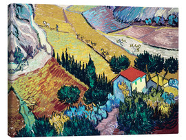 Canvas-taulu  Landscape with House and Ploughman - Vincent van Gogh