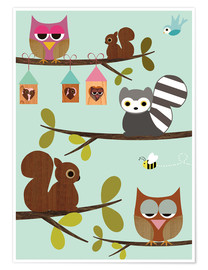 Juliste  Happy Tree with cute animals - owls, squirrel, racoon - GreenNest