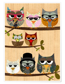 Juliste Nerd owls on branches - my friends and me