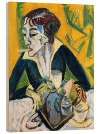 Puutaulu  Erna with cigarette (Ernaporträt in blue) - Ernst Ludwig Kirchner