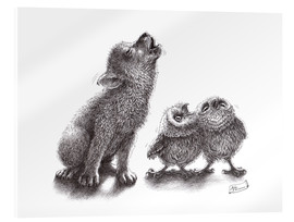 Akryylilasitaulu  Howling wolf meets howling owls - Stefan Kahlhammer