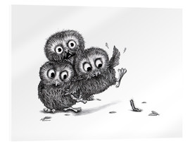 Akryylilasitaulu  Help, three owls and a monster - Stefan Kahlhammer