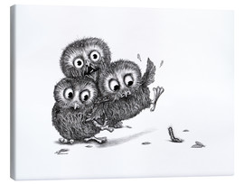 Canvas-taulu  Help, three owls and a monster - Stefan Kahlhammer