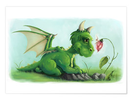 Juliste Dragon with a little fairy