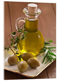 Akryylilasitaulu  Olive oil and olives - Edith Albuschat