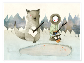 Juliste  The little Inuit girl and the wolf - Judith Loske