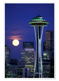 Juliste Space Needle at full moon
