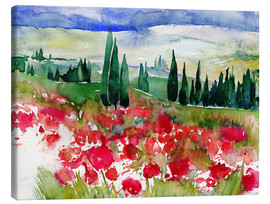 Canvas-taulu  Tuscan Poppies - Jitka Krause