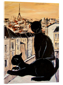 Akryylilasitaulu  Cats love over the rooftops of Paris - JIEL