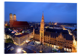 Akryylilasitaulu  Church of our Lady and the new town hall in Munich at night - Buellom