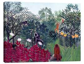 Canvas-taulu  Tropical forest with monkeys - Henri Rousseau