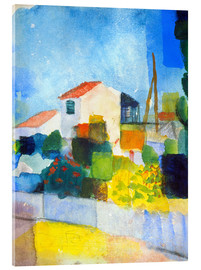 Akryylilasitaulu  The bright house (first version) - August Macke