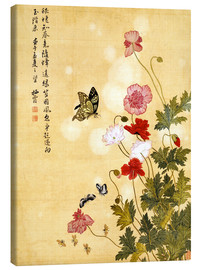Canvas-taulu  Poppies and Butterflies - Ma Yuanyu