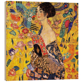 Puutaulu  Lady with a Fan - Gustav Klimt