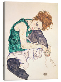 Canvas-taulu  Seated woman with bent knee - Egon Schiele