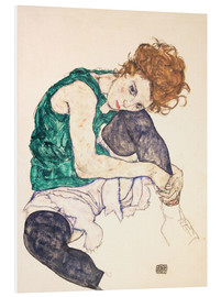 PVC-taulu  Seated woman with bent knee - Egon Schiele