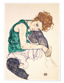Juliste  Seated woman with bent knee - Egon Schiele