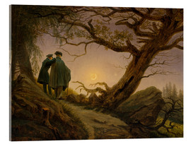 Akryylilasitaulu  Two men contemplating the moon - Caspar David Friedrich
