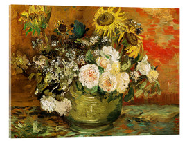 Akryylilasitaulu  Roses and sunflowers - Vincent van Gogh