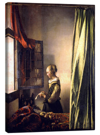 Canvas-taulu  Girl reading a letter at an open window - Jan Vermeer